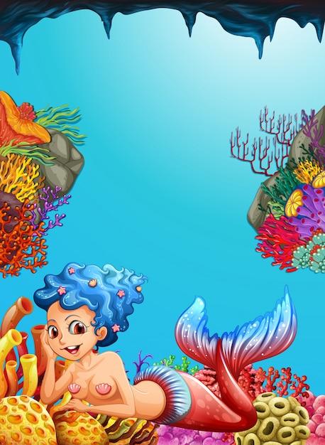 Sirène nageant sous l'océan Vecteur gratuit