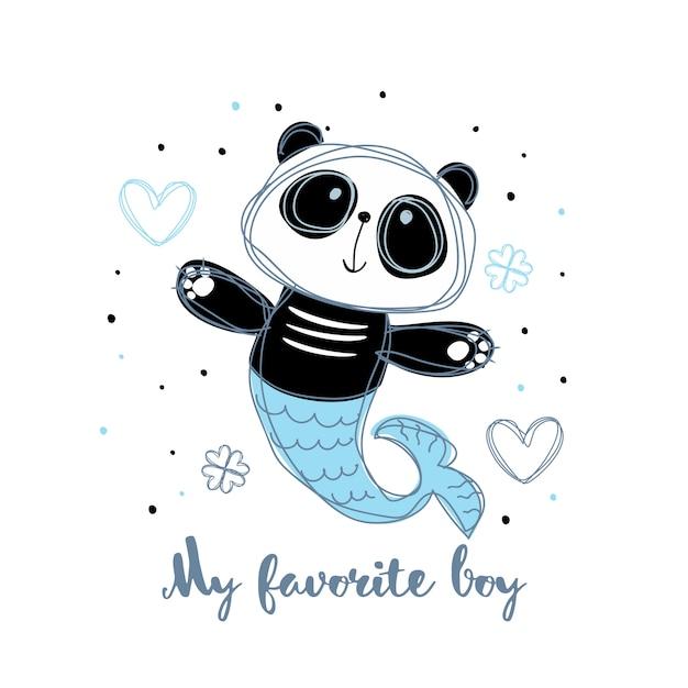 Sirène panda. panda boy. mon garçon préféré. une inscription. Vecteur Premium