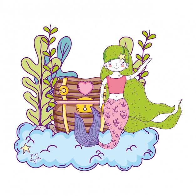 Sirène avec scène sous-marine au trésor Vecteur Premium