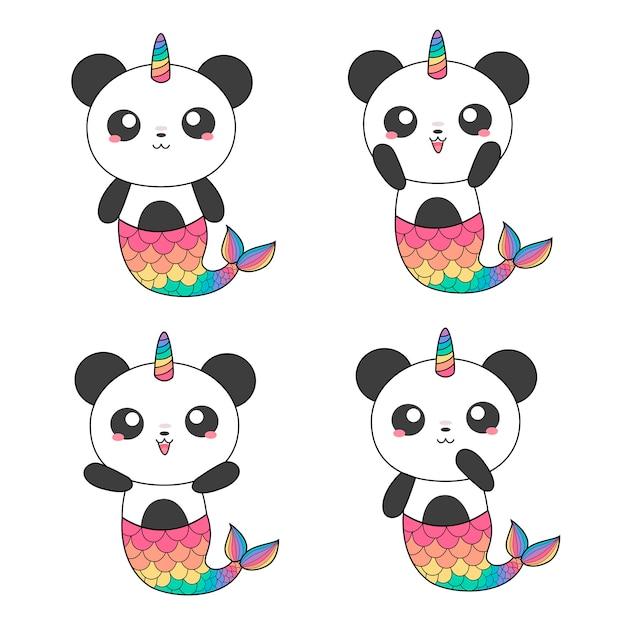 Sirènes de pandas magiques Vecteur Premium