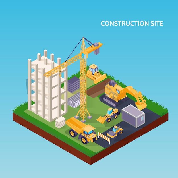 Site De Construction Isométrique Avec Des Machines Vecteur gratuit