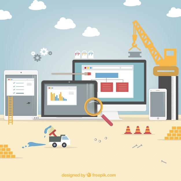Site en construction Vecteur gratuit