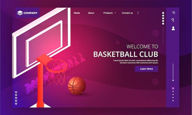 Site du club de basketball. Vecteur Premium