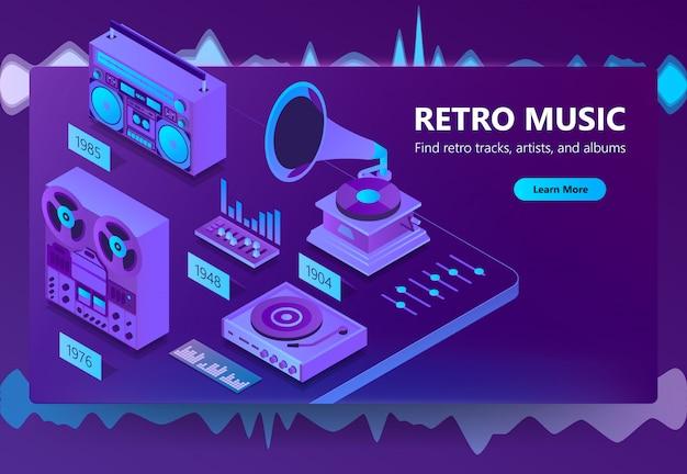 Site isométrique 3d d'écoute de musique Vecteur gratuit