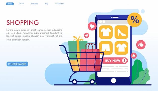 Site de shopping en ligne Vecteur Premium