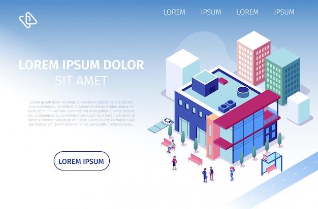 Site de vector isométrique coworking business center Vecteur Premium