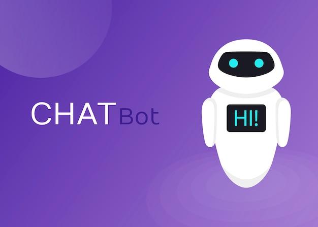 Site Web D'assistance Virtuelle De Robot Bot Bot Ou Applications Mobiles, Illustration Plate D'intelligence Artificielle Vecteur Premium
