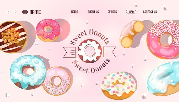 Site Web Donut, Page D'accueil Bakery, Sélection De Beignets Sucrés Vecteur Premium