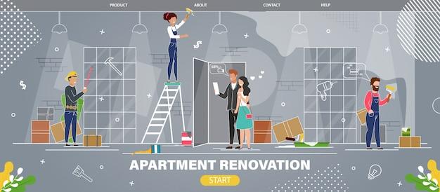 Site web du service de rénovation d'appartements Vecteur Premium