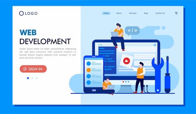Site web d'illustration de la page de destination du développement web Vecteur Premium