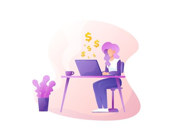 Site web indépendant gagnant d'un dollar illustration plate Vecteur Premium