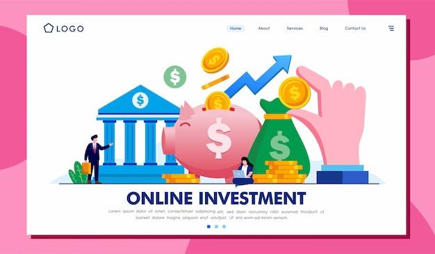 Site web de la page de destination des investissements en ligne Vecteur Premium