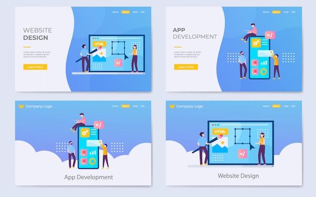 Site web plat moderne et illustration de la page de destination pour le développement d'applications Vecteur Premium