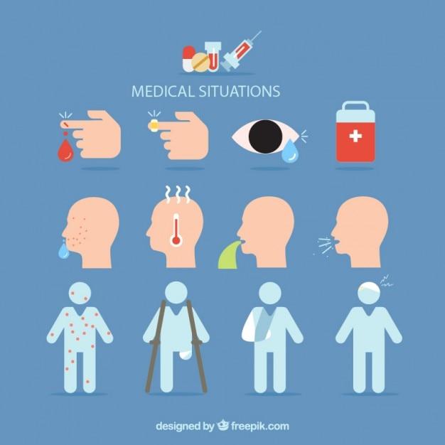 Situations médicales définies Vecteur gratuit