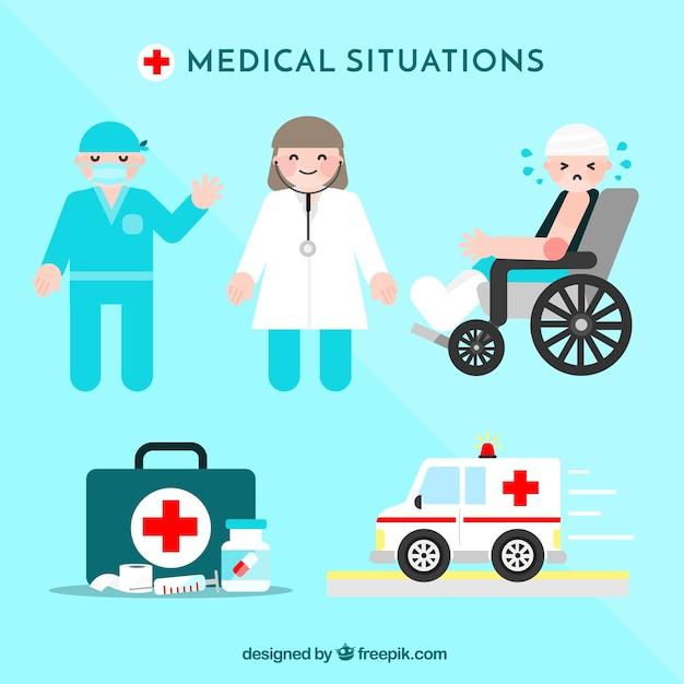 Situations médicales prévues dans le style plat Vecteur gratuit