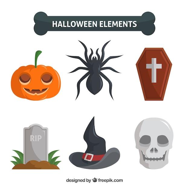 Six attributs de halloween sur un fond blanc Vecteur gratuit