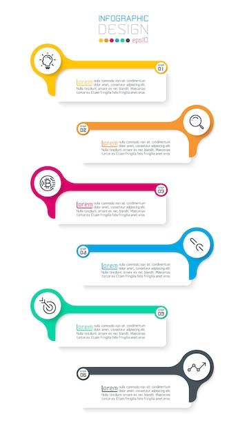 Six barres infographiques horizontales. Vecteur Premium