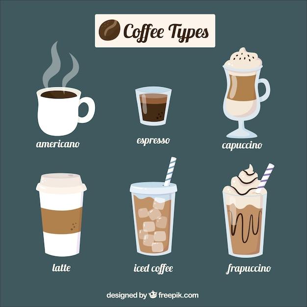 Six cafés différents Vecteur gratuit
