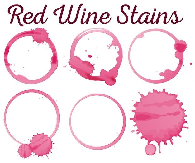 Six différentes taches de vin rouge illustration Vecteur gratuit