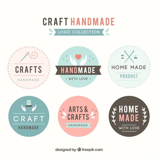 Six logos pour l'artisanat Vecteur gratuit