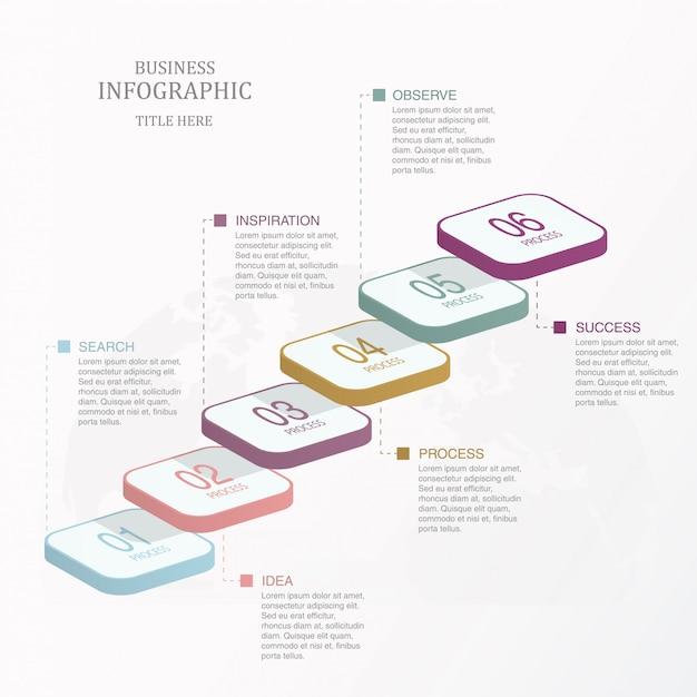 Six marches d'escalier graphique d'infographie, option ou étapes. Vecteur Premium