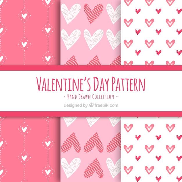 Six modèles roses de la saint-valentin Vecteur gratuit