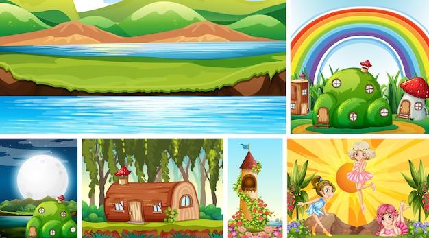 Six Scènes Différentes Du Monde Fantastique Avec Des Lieux Fantastiques Et Une Scène De La Nature Vecteur gratuit