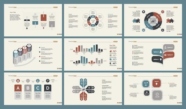 Six tableaux de recherche ensemble de modèles de diapositives Vecteur gratuit