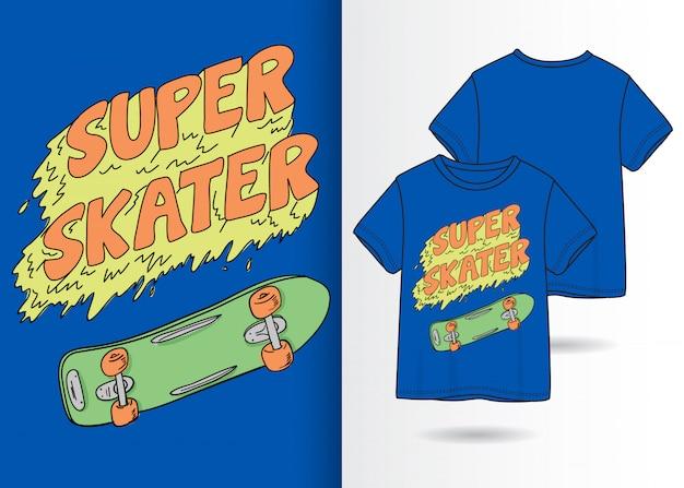 Skateboard dessiné à la main avec slogan Vecteur Premium