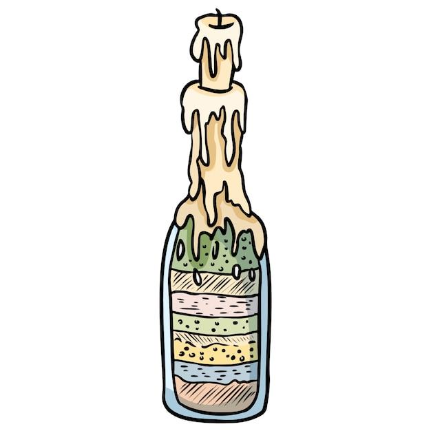 Sketch bouteille doodle croquis. Vecteur Premium