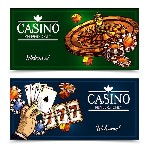 Sketch casino bannières horizontales Vecteur gratuit