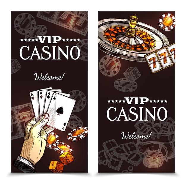 Sketch casino bannières verticales Vecteur gratuit