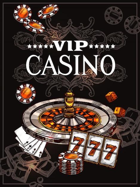 Sketch casino poster Vecteur gratuit