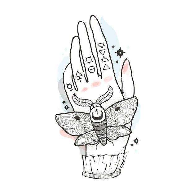 Sketch moth graphique main avec dessin mystique et occulte. Vecteur Premium