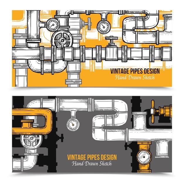 Sketch pipes system banners Vecteur gratuit
