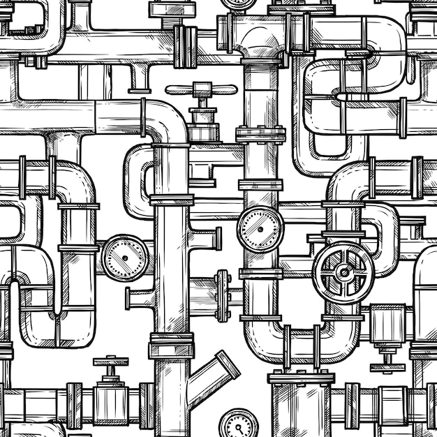 Sketch pipes system seamless pattern Vecteur gratuit