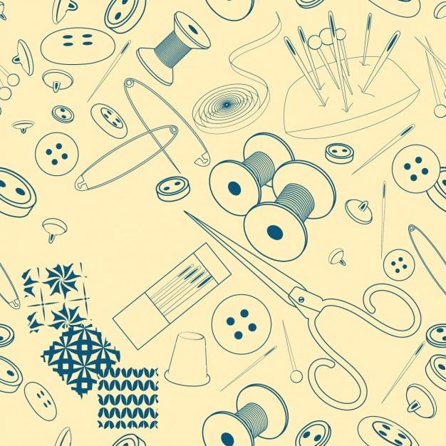 Sketched Motif éléments De Couture Vecteur gratuit