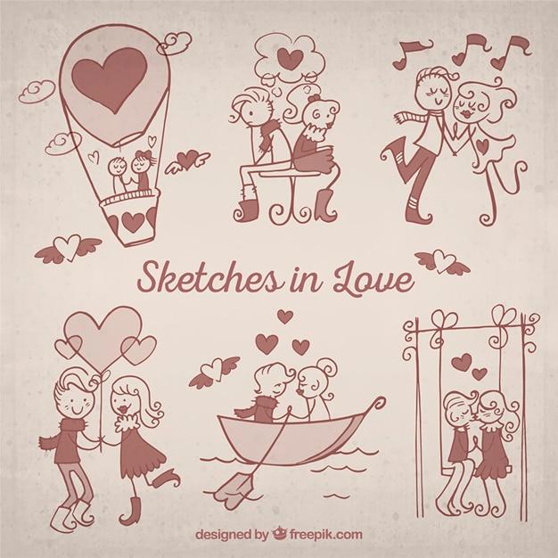 Sketches en amour pack Vecteur gratuit