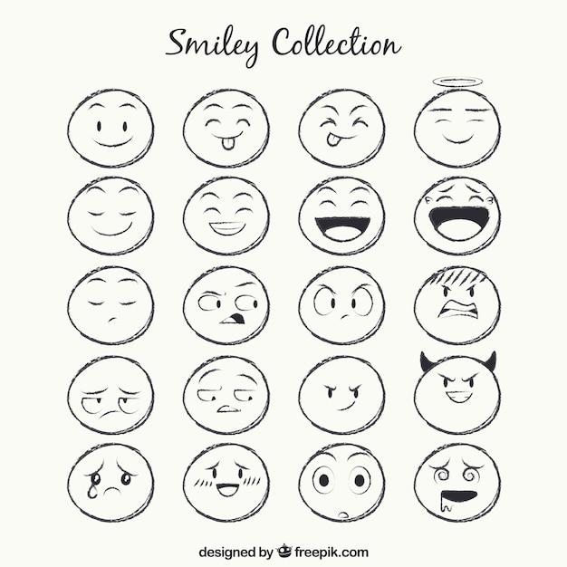Sketches Collection Smiley Vecteur Premium