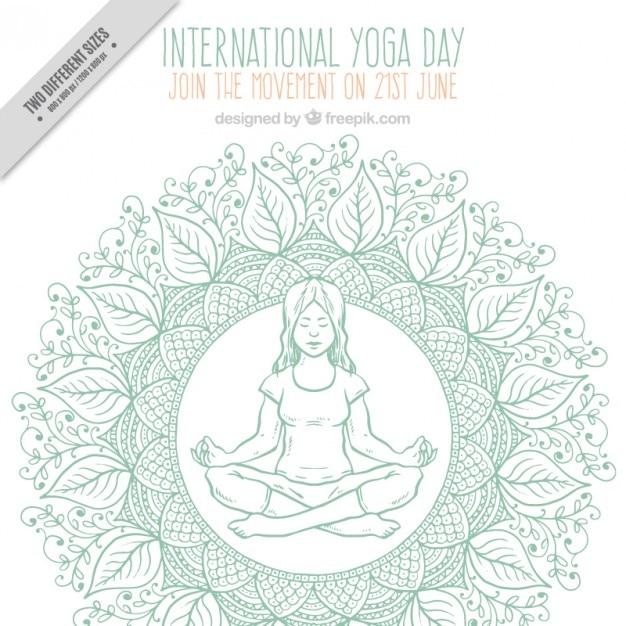 Sketches décoration fond avec une fille faisant du yoga Vecteur gratuit