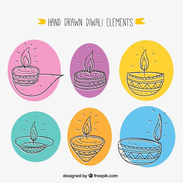 Sketches de plusieurs bougies diwali Vecteur gratuit