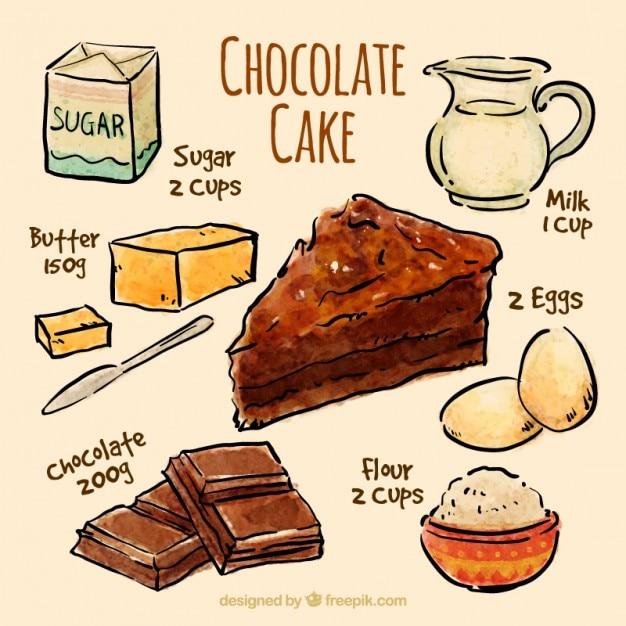 Sketches recette de gâteau au chocolat Vecteur gratuit