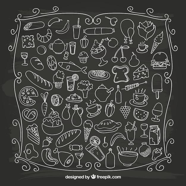 Sketchy alimentaire sur le tableau noir Vecteur gratuit