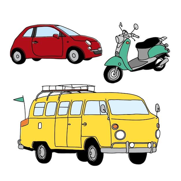 Sketchy collection des transports Vecteur gratuit