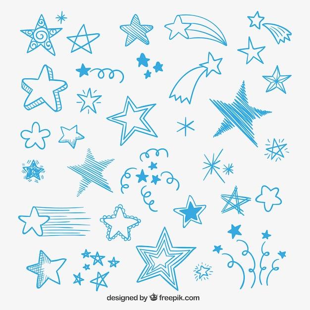 Sketchy étoiles Vecteur gratuit