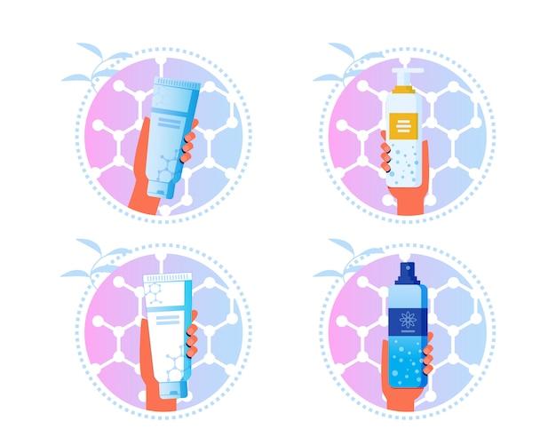 Skincare cosmetics cartoon labels stickers set Vecteur Premium