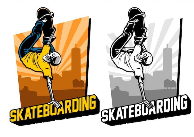 Skul skateboard dans l'ensemble Vecteur Premium