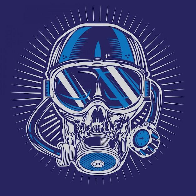 Skull diver Vecteur Premium