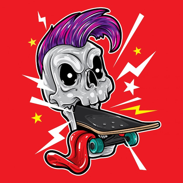 Skull punk skateboard Vecteur Premium