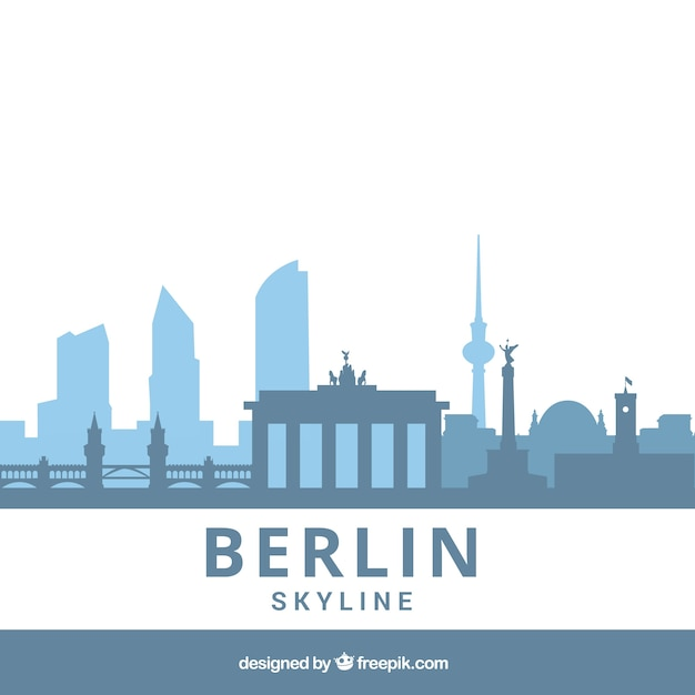 Skyline de berlin dans les tons bleus Vecteur gratuit